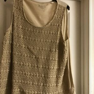 Chico's tan crocheted tank top